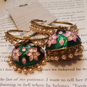 Anthropologie Jhumka Style Green and Pink Earrings